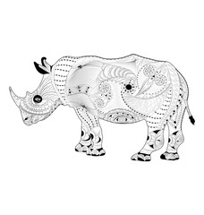 zentangle vector rhinoceros. coloring page