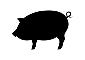 Black pig icon on white background, vector silhouette
