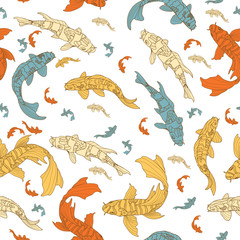 Pattern with koi