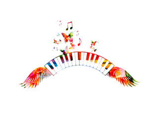 Colorful piano keyboards with wings