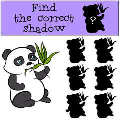 Children games: Find the correct shadow. Little cute panda sits and eats leaves.