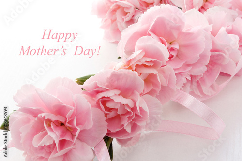 Mother's day card. Bouquet of pink carnations.