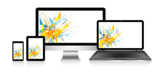 Responsive web design devices with vector abstract background. Computer, notebook, tablet and smart phone.
