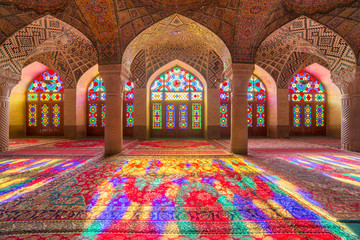 Nasir Al-Mulk Mosque in Shiraz, Iran, also known as Pink Mosque