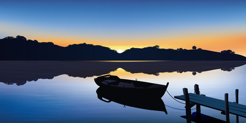 Paysage - Barque - Ponton