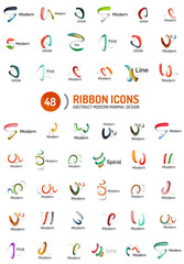 Vector line ribbon logo set