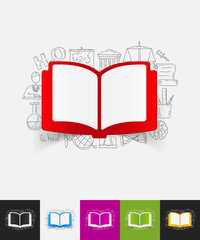 book paper sticker with hand drawn elements