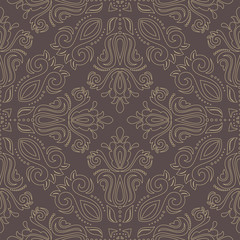 Seamless oriental ornament in the style of baroque. Traditional classic vector pattern with golden outlines