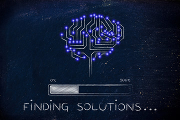 circuit brain with progress bar loading, finding solutions