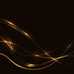 Dark background with gold laser shine neon waves