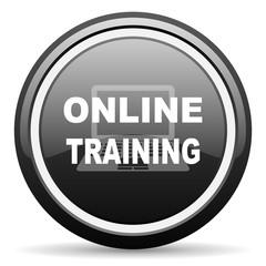 online training black circle glossy web icon