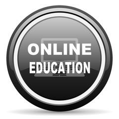 online education black circle glossy web icon