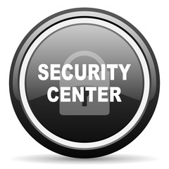 security center black circle glossy web icon