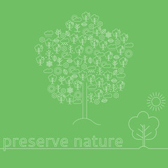 """Poster """"preserve nature""""  in a tree of icons """"seasons""""."""