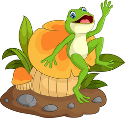 Happy frog cartoon sitting on mushroom