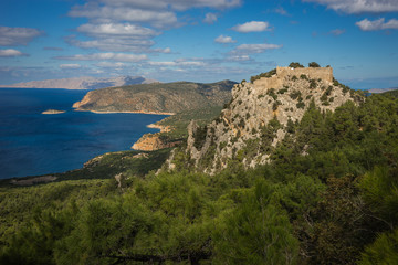 Ruins of Monolithos castle on Rhodes island in Greece