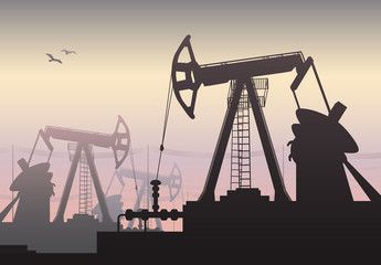 Working Oil Pumps and Drilling Rig, Oil Pump, Petroleum Industry