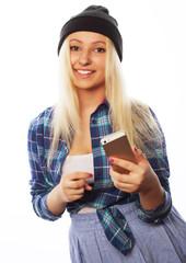 pretty teen girl  with smart phone