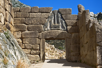 Greece. Archaeological Sites of Mycenae - The Lion Gate. The Archaeological Sites of Mycenae and Tiryns is on UNESCO World Heritage List since 1999
