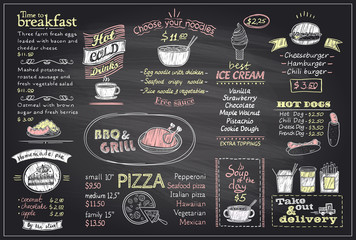 Chalk menu list blackboard design for cafe or restaurant