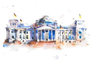 watercolor drawing of Reichstag building in Berlin