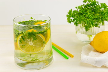 Water with parsley and lemon