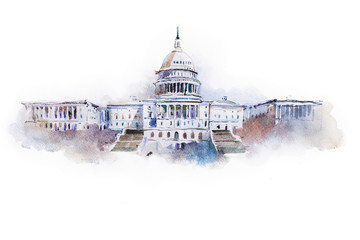 watercolor drawing of the white house in Washington dc Wall mural