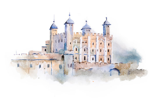 tower of London watercolor drawing, London, UK. English sightseeing aquarelle painting