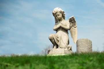 Praying Angel statue in graveyard