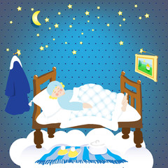 sleep.starry sky. sleeping leprechaun.vector illustration