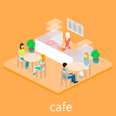 isometric empty cafe.