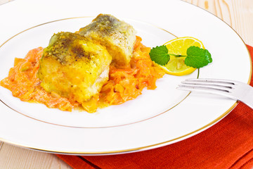 Fish in Greek with Onion and Carrot