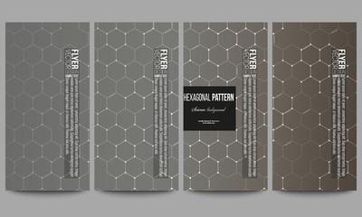 Set of modern flyers. Chemistry pattern, hexagonal design vector illustration
