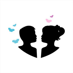 Silhouette of children twins. Pair of kissing children. Black against white background and color butterflies. Vector