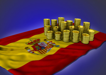 Spanish economy concept with national flag and golden coins - 3D render