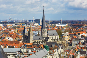 Aerial view on the center of Ghent in Belgium