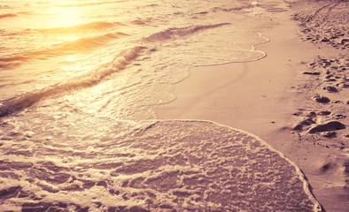 beautiful sunset in morning sea beach , vintage styled tone