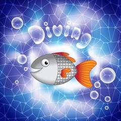 Cute cartoon smiling fish in deep sea waters.
