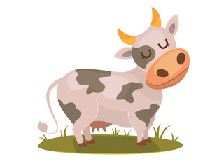 Isolated funny cow on white background, bitmap character.