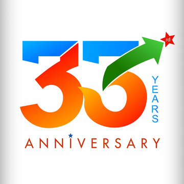 Template logo 33rd anniversary color with star, vector illustrator