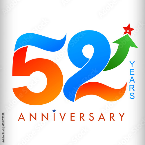 Template Logo 52nd Anniversary Color With Star Vector Illustrator