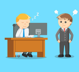 boss angry when a businessman sleeping on the job