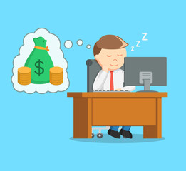 businessman sleep at work and dreaming of money