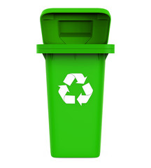 Garbage Trash Bin with Recycle Symbol