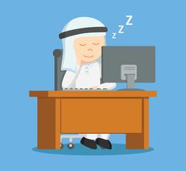 arab businessman asleep at work