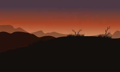Hills at sunset scenery