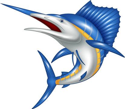 Illustration of blue marlin fish cartoon