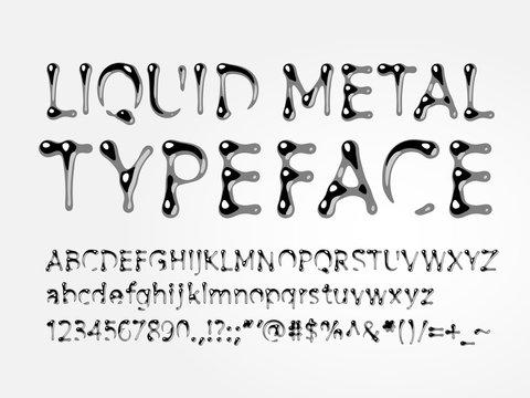 Liquid metal typeface