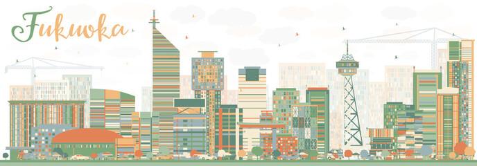 Abstract Fukuoka Skyline with Color Landmarks. Wall mural
