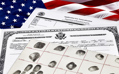 Citizenship Documents with US Flag